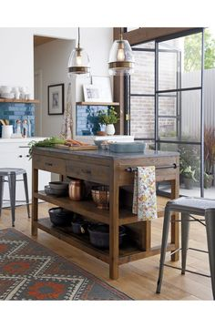 Morela Glass Pendant Light | Crate and Barrel. ( I want this island and the pendants!)