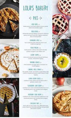 Desserts Menu, French Desserts, Menu Maker, Peach Pie Filling, Bakery Menu, Ice Cake, Sweet Box, Menu Items