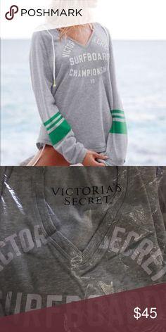 Victoria's Secret split neck hoodie NIP. Size XL. Gray/green. Please make any offers through the offer button!!!! No trades! Victoria's Secret Tops Sweatshirts & Hoodies