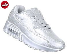 Damen Sneakers | geschlossene Schuhe für Mädchen | feste Schuhe Freizeit-Schuhe | Silber Low-top Herbst-Winter Synthetik Größe 38 (*Partner-Link)