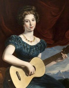 """jacquelinethings: """" A Lady of the Petre Family Playing the Guitar Manner of Joseph Karl Stieler (German, Oil on canvas. As with the Petre lady work, the most distinguishing feature of Stieler's. Jane Austen, Dame, Guitar Art, Blue Guitar, National Trust, Empire Style, Art Uk, Woman Painting, Painting Canvas"""