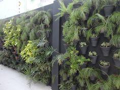 Jardim vertical feito com vasos de cerâmica.