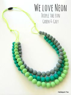 Silicone Teething Necklace Triple the fun by HarlequinFox on Etsy
