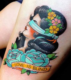 "Illusion: Marie Sena's tattoo designs have a characteristic style of big-eyed women with small mouths. Her work is very girly with an old-school influence. See also: ""Tattoos: Don't Pout!"" Top: An illustration by Marie Sena. Photos © Marie Sena Via Ticopolotatuado. http://illusion.scene360.com/art/37172/tattoos-is-love-blind/"