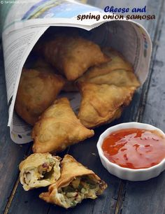 Cheese and Spring Onion Samosa