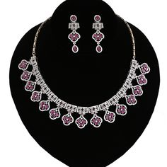 Rhodium Plated Indian American Diamond Ruby CZ Bridal Necklace with Matching Eardrops Wedding Jewellery Designs, Wedding Jewelry, Jewelry Design, Bridal Necklace, Bridesmaid Earrings, American Diamond Jewellery, Diamond Jewelry, Diamond Earrings, Fashion Earrings
