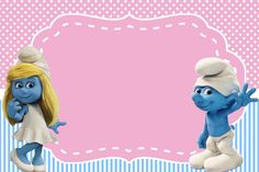 Smurfs: Invitations and Party Free Printables, for Girls Party. Festa Angry Birds, Scrapbook Bebe, Smurfette, Mickey Mouse, 4th Birthday Parties, Disney Cartoons, Party Printables, Free Printables, Birthday Party Invitations