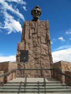 Lincoln Highway Monument between Laramie and Cheyenne, Wyoming