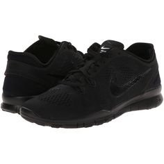 Nike Free 5.0 TR Fit 5 (Black/Black/Black) Women's Cross Training... ($68) ❤ liked on Polyvore featuring shoes, athletic shoes, black, grip shoes, black shoes, nike shoes, nike and black cross training shoes