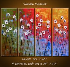 Garden Melodies - 30 x 40,  impasto texture on canvas, gallery wrapped and ready to hang, ORIGINAL and HUGE...palette knife painted