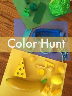 Hunt Color Hunt - practice colors and play! Great for rainy days with toddlers and preschoolers.Color Hunt - practice colors and play! Great for rainy days with toddlers and preschoolers. Toddler Play, Toddler Learning, Toddler Preschool, Early Learning, Learning Activities, Preschool Activities, Kids Learning, Montessori, Rainy Day Activities