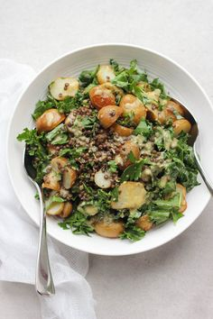 Roasted New Potato, Lentil + Kale Salad with Lemon Caper Dressing