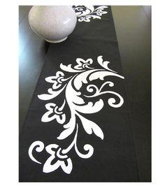 handpainted urban scroll table runner. lovely and elegant!