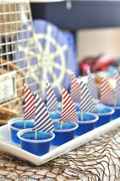Jello Shots for my nautical bachelorette party theme :) First Birthday Parties, Boy Birthday, First Birthdays, Shower Bebe, Baby Boy Shower, Baby Showers Marinero, Sailing Party, Yacht Party, Lobster Party