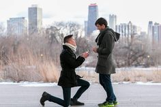 Carter proposed to Joe in their favorite spot in Chicago the bridge overlooking Lincoln Park Zoo on the coldest day of the year. . . . After being friends for a few years they officially became a couple when they were walking home one day and kissed each other goodnight. On the fifth anniversary of that kiss (11.28.2017) Carter and Joe plan to become husband and husband in Cleveland Ohio! . .  #GayWeddingIdeas #LoveWins