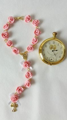 Rosary Bracelet, Rosary Beads, Bracelet Watch, Pasta Flexible, Baby Crafts, Precious Moments, Clay Art, Jewelry Crafts, Dream Catcher