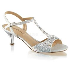 "2 1/2"" Kitten Heel T-Strap Sandals Embellished with Silver Multi Rhinestones"