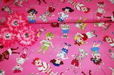 """Golf Lovers Fabric for Sale! This is """"You Golf Girl!"""" Swingers Rosie Sky Fabric...Get creative and make something FUN!"""