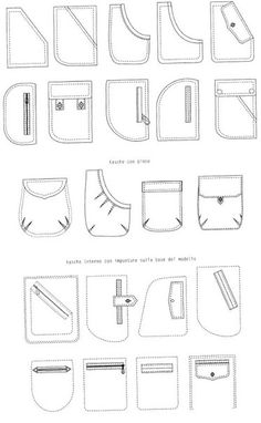 Fashion vocab - types of pockets Technical drawings of pockets – 10 photos Still more pocket ideas Sewing Tutorials, Sewing Hacks, Sewing Projects, Techniques Couture, Sewing Techniques, Fashion Design Drawings, Fashion Sketches, Clothing Patterns, Sewing Patterns