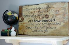 Great Is Thy Faithfulness Wooden Sign by thelovelymosaic on Etsy, $70.00