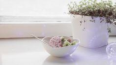 Pilvi (Cloud) yoghurt bowl is a handmade, slipcast and glazed porcelain bowl #ceramics #finnish #finnishdesign #madeinfinland