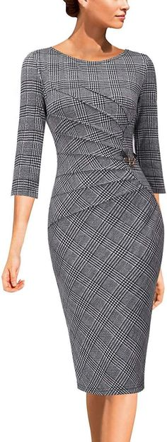 Womens Elegant Ruched Work Business Office Cocktail Sheath Dress - Outfits for Work Dress Attire, Dress Outfits, Fashion Dresses, Casual Outfits, Look Fashion, Womens Fashion, Fashion Ideas, Business Dresses, Business Attire