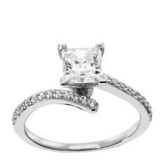 14K White Gold 0.99 ct Princess Cut Lab Created Engagement Ring $869