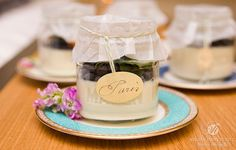 Panna cotta topped with wild blueberries, Couture Cuisine Wedding Event Planner, Wedding Events, Wedding Ideas, Wild Blueberries, Princess Party, Luxury Wedding, Blueberry, Couture, Table Decorations
