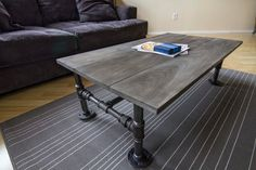 Industrial galvanized steel pipe and wood coffee table by AaronStansberry on Etsy https://www.etsy.com/listing/221192463/industrial-galvanized-steel-pipe-and
