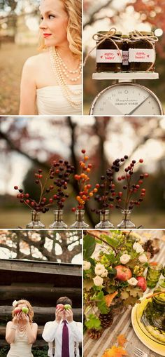 I so love the idea of a fall wedding at an apple orchard with apple pie, apple cider and bobbing for apples. Adorable.