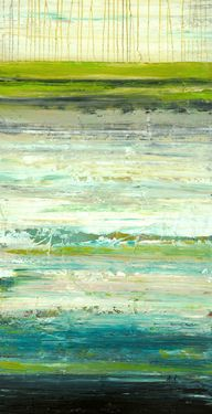 """Saatchi Online Artist: Lisa Carney; Acrylic 2011 Painting """"Peacock Aura - Acrylic drip painting in lime green, turquoise and white on box canvas"""""""
