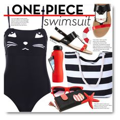 """""""Beach Style -  Yep, They're In! The One-Piece"""" by beebeely-look ❤ liked on Polyvore featuring Karl Lagerfeld, Nautica, beach, swimwear, cat, sammydress and onepieceswimsuit"""