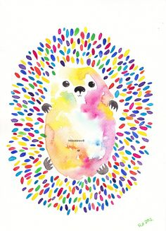 Rainbow Hedgehog Art Print Watercolor Painting. I want to do something like this for my wedding. The quills will be quests fingerprints