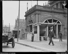 Entrance to Town Hall Railway Station, outside Sydney Town Hall, Sydney, c1933 #sydney #history #rail http://fat.ly/cwrS (Instagram Image from @beliefmedia, 11th March 2017 8:00pm).