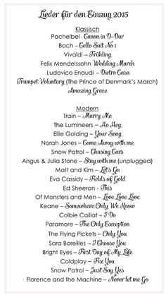 Die schönsten Lieder für den Einzug bei der Trauung | Hochzeitsblog - The Little Wedding Corner