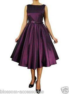 RK16 Audrey Hepburn 50's Rockabilly Swing Evening Pin Up Prom Retro Satin Dress