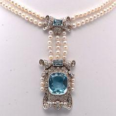 Victorian pearl, aquamarine, and diamond pendant necklace
