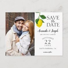 Photo Lemon Rustic Save the Date Announcement Postcard