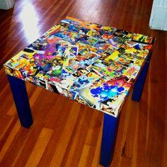 Ikea lack table comic book makeover