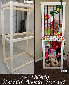 Cute Stuffed Animal Storage and Organization DIY Idea: Stuffed Animal Zoo themed stuffed animal storage DIY idea! A good, fun and cute way to organize the stuffed animals! The decoration of . Toy Storage Solutions, Diy Casa, Kids Storage, Storage Ideas, Diy Toy Storage, Baby Storage, Teddy Storage, Cord Storage, Toy Rooms