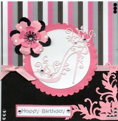 Tattered Lace Shoe in pink. Card by Sue Elvin