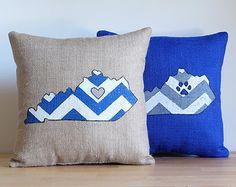 Chevron Burlap Pillow - Kentucky with Paw Print or Heart - Kentucky - Wildcats - Kentucky Pillow