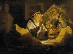Rembrandt 1627 De geldwisselaar paneel 32 x 42 cm Oude man bevindt zich in een rommelige kamer. Hij bekijkt geldstukken bij een kaars. Sommige vinden dit een afbeelding van een oude vrek, anderen zien alleen een portret van een geldwisselaar en weer anderen zien gierigheid.