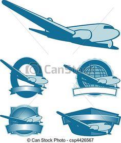 Vectors Illustration of Vintage Plane Labels - Collection of ...
