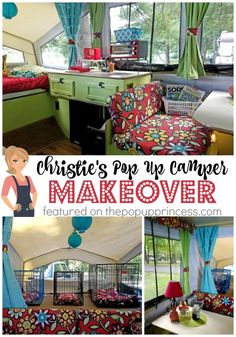 What a bright, fun pop up camper.  Christie used colors she loved, but wouldn't normally decorate with in her own home to give her trailer a whimsical feel...  and she has a separate living space for her dogs, too.