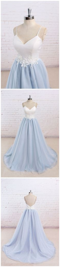 Blue and white lace belt tulle skirt full length.