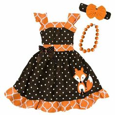 Orange moroccan brown polka fox bow dress (includes dress) and don& forget to add the optional matching accessories& (Orange Messy Headband, Gold Sparkle Little Baby Girl, Little Babies, Dress With Bow, Dress Up, Gold Sparkle, Frocks, Moroccan, Fox, Summer Dresses