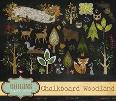 Chalkboard Woodland Animals Clipart by Origins Digital Curio on Creative Market