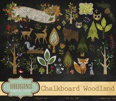 Chalkboard Woodland Animals Clipart by Origins Digital Curio on Creative Market