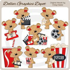 Sweetie Bears - Movie Time Clip Art, by Cheryl Seslar - Only $1.00 at www.DollarGraphicsDepot.com : Great for printable crafts, web graphics, scrapbook pages, greeting cards, gift tags / labels, gift boxes / bags, t-shirt transfers, movie ticket party invitations, movie night party favors, movie night signs / banners, movie gift card holders, popcorn boxes, candy bar wrappers, soda pop labels, and much more!